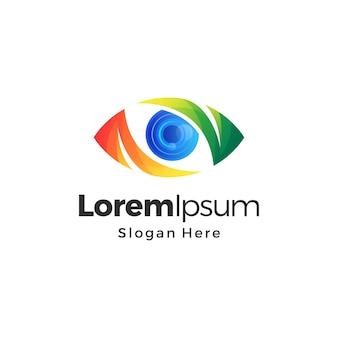 Design del logo premium a colori sfumati per la visione della fotocamera dell'occhio