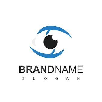 Cura degli occhi logo design vector
