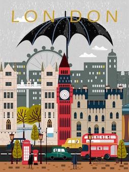 Design accattivante del poster di viaggio del regno unito in stile piatto