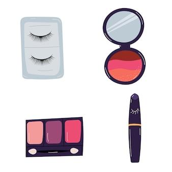 Cosmetici per gli occhi. ciglia finte, ombretti, mascara. illustrazione vettoriale di bellezza