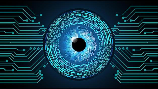 Occhio cyber circuito futuro concetto di tecnologia sfondo lucchetto chiuso su sfondo digitale