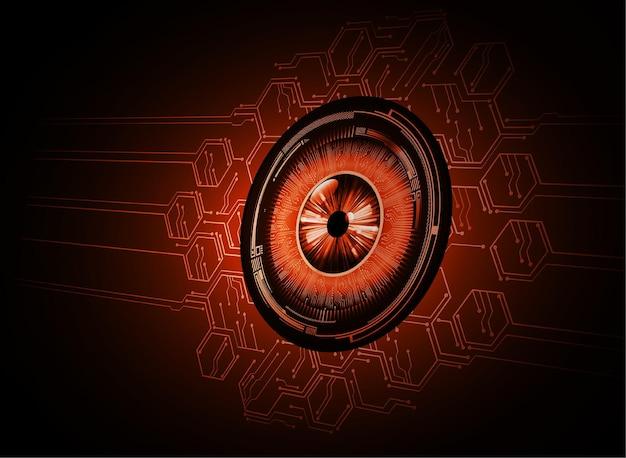 Occhio cyber circuito futuro tecnologia concetto infografica di sfondo lucchetto chiuso su digital