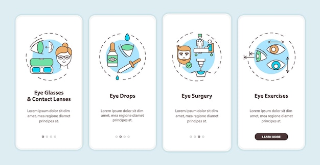 Metodi di trattamento delle malattie degli occhi che integrano la schermata della pagina dell'app mobile con i concetti. istruzioni grafiche per occhiali e lenti a contatto in 4 passaggi. modello di interfaccia utente con illustrazioni a colori rgb
