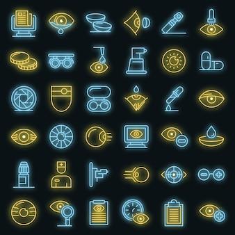 Set di icone per la visita oculistica. delineare l'insieme delle icone vettoriali per la visita oculistica neoncolor su nero
