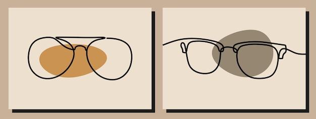 Set di oggetti artistici a linea continua per occhiali da vista