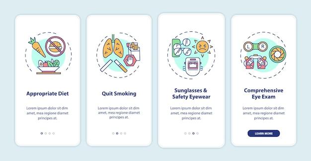 Suggerimenti per la salute degli occhi nella schermata della pagina dell'app mobile con concetti. dieta appropriata per il trattamento con istruzioni grafiche in 4 passaggi. modello di interfaccia utente con illustrazioni a colori rgb