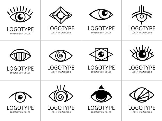 Set di logo nero dell'occhio