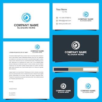 Idee per il design del logo dell'occhio e biglietto da visita vettore premium