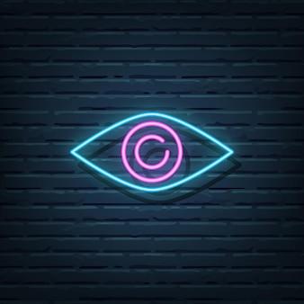 Elementi dell'insegna al neon dell'occhio