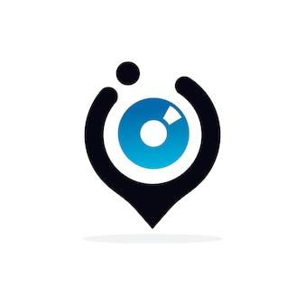 Design del logo del punto dell'occhio per il concetto di visione