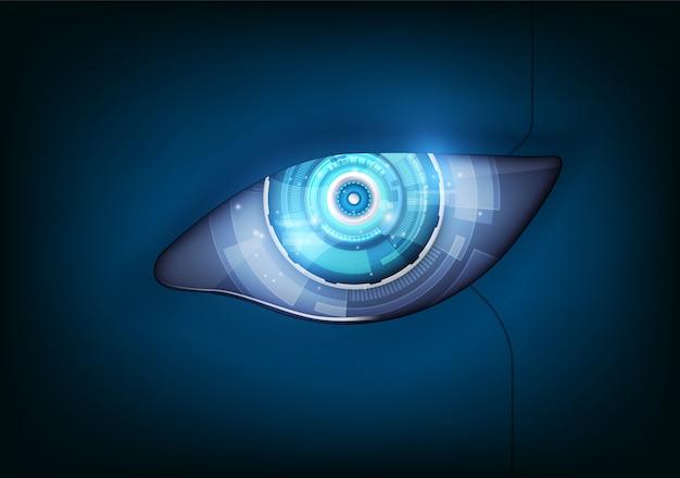 Occhio del robot interfaccia hud futuristica