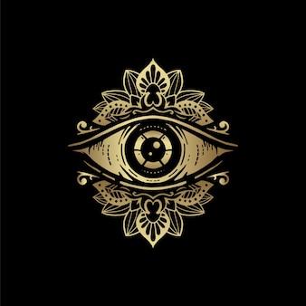 Simbolo dell'occhio con ornamento mandala floreale dorato. visione della provvidenza. lussuoso, alchimia, religione, spiritualità, occultismo, arte del tatuaggio, lettore di tarocchi