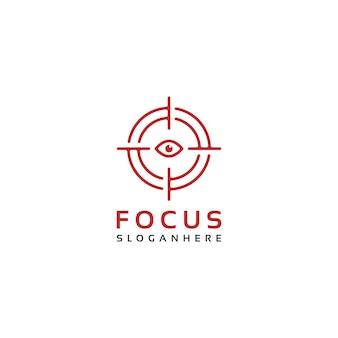 Design del logo della messa a fuoco del mirino dell'obiettivo dell'occhio