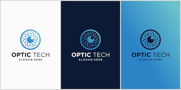 Emblema del logo della tecnologia degli occhi concetto per cctv