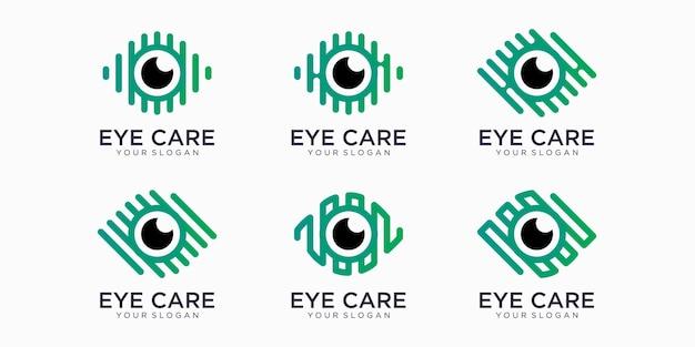 Modello di scenografia dell'insieme dell'icona di logo di vettore dell'occhio. stile moderno minimal design piatto.