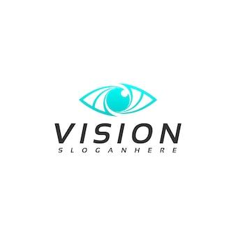 Vettore di progettazione del logo di visione dell'occhio