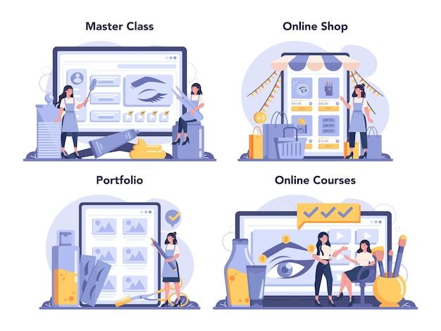 Maestro delle sopracciglia e servizio online di design o set di piattaforme