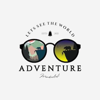 Occhiali da vista avventura all'aperto logo disegno vettoriale illustrazione vintage consente di vedere il mondo
