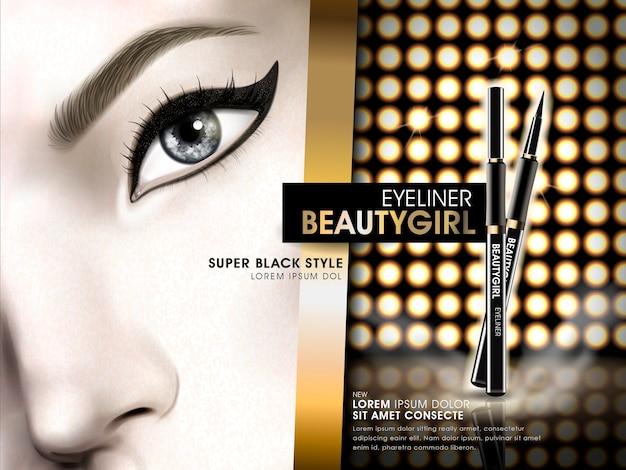 Pubblicità della ragazza di bellezza dell'eyeliner con l'occhio