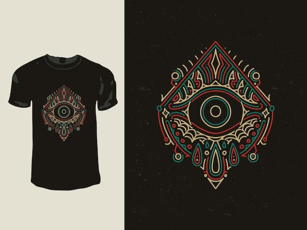 Il design della t-shirt monoline della geometria degli occhi