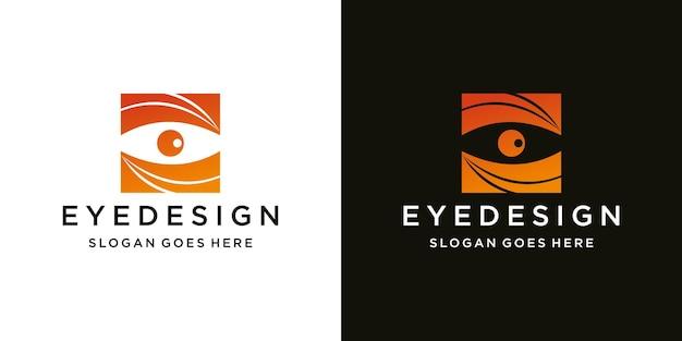 Modello di progettazione del logo degli occhi idea del concetto di logo e biglietto da visita