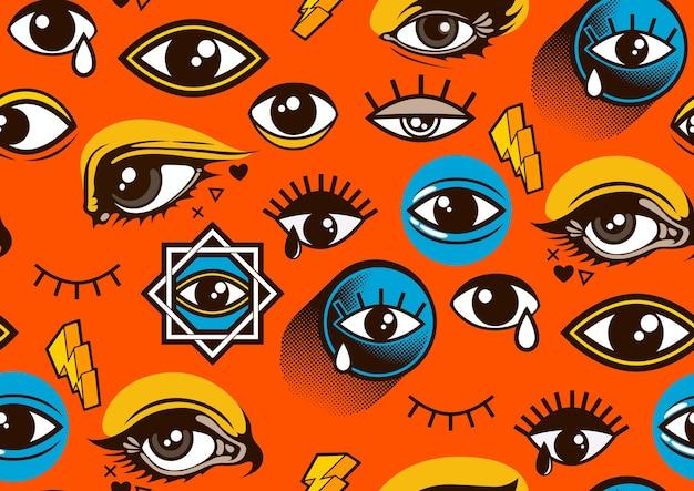 Occhi seamless pattern, stile fumetto.