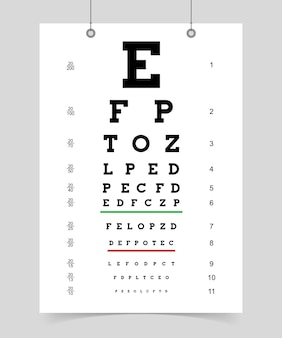 Diagramma di prova degli occhi. poster con lettera per oftalmologo per testare la vista.