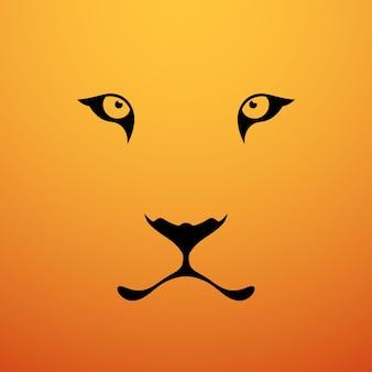Occhi di tigre muso di tigre su sfondo arancione