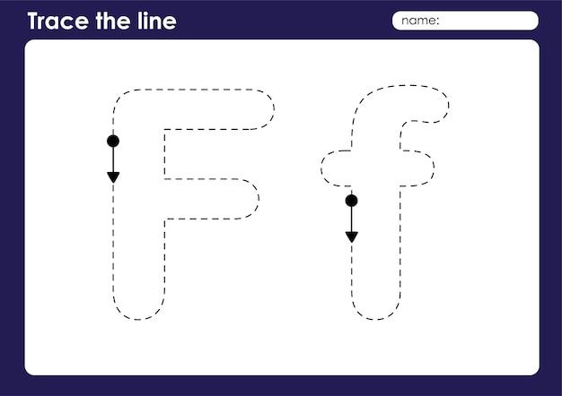 Lettera dell'alfabeto f su tracciato di linee foglio di lavoro prescolare