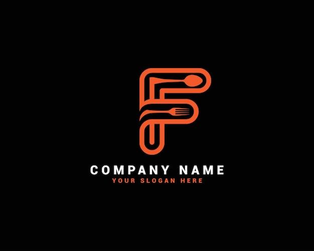 Logo della lettera di cibo f; marchio della lettera f; logo della lettera f cucchiaio