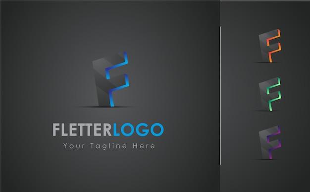 Insieme di progettazione di logo della lettera f 3d