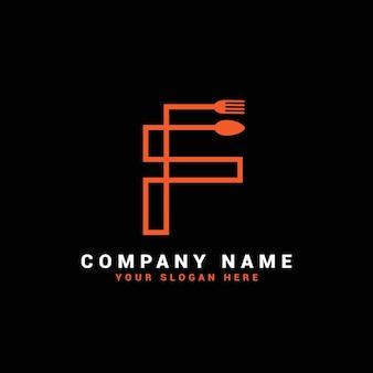 Logo della lettera f, logo della lettera del cibo f, logo della lettera del cucchiaio f