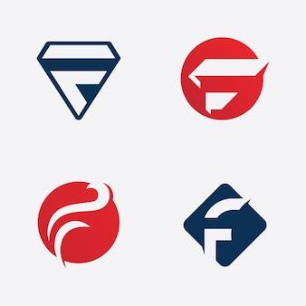 Segno di iniziali di vettore del modello di logo della lettera f