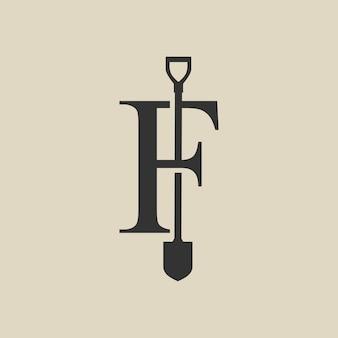 F lettera pala vanga logo icona vettore illustrazione