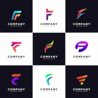 Collezione logo f, loghi lettera f maiuscola società gradiente
