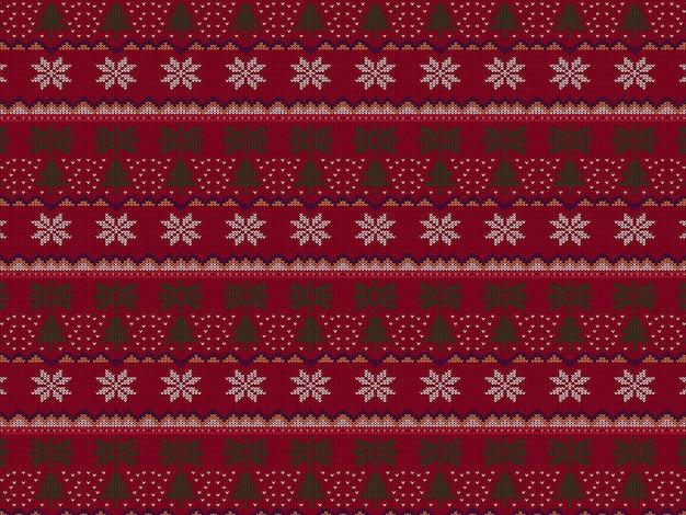 Tessuto a maglia pattern natale senza soluzione di continuità illustrazione vettoriale moderna con un design diverso.