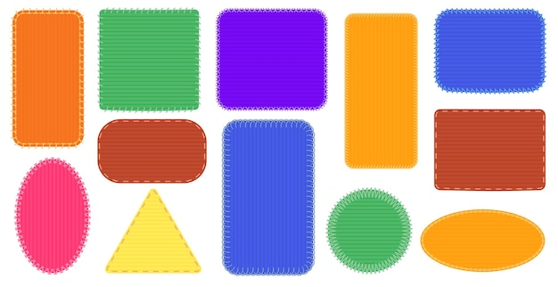 Cornici per toppe in tessuto. cuciture triangolari e rettangolari, badge colorato ovale, illustrazione della cornice del punto in tela
