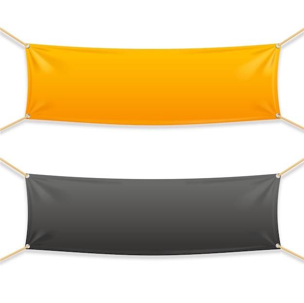 Banner orizzontale rettangolare in tessuto con corde. modello pronto per il tuo testo.