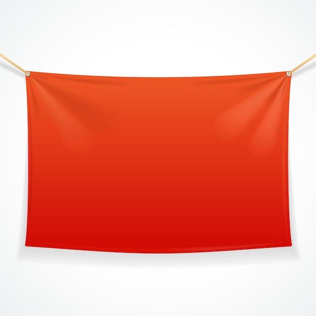 Striscione rosso rettangolare in tessuto con corde.