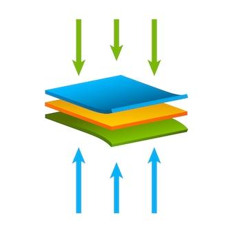 Materiale della struttura del tessuto isolato, concetto di impermeabilità all'umidità degli strati del flusso d'aria.