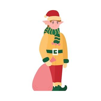 Favoloso elfo di natale con la borsa piena di illustrazione di regali di festa