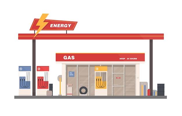 Facciata della costruzione di benzina, gas o stazione di rifornimento isolata su uno spazio bianco