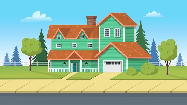 Edificio di facciata, casa suburbana con garage e prato verde. illustrazione del fumetto di vettore per giochi o animazioni.