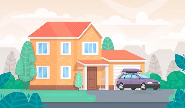 La facciata della casa è con un garage e una macchina. cottage
