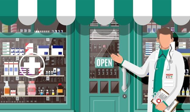 Farmacia di facciata e farmacista. esterno della farmacia. bottiglie di capsule di pillole medicinali medicine