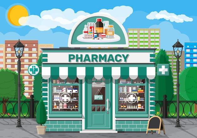 Negozio di farmacia di facciata con cartello