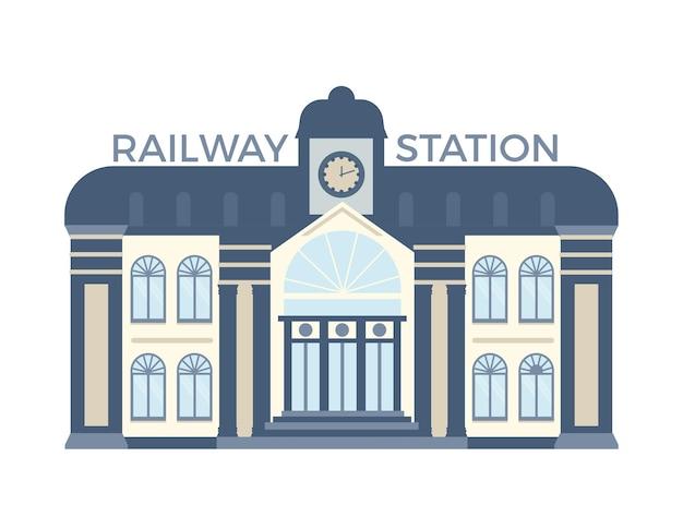 Facciata dell'edificio della stazione ferroviaria piatta