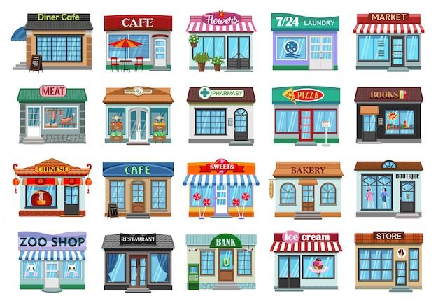 Icona stabilita del fumetto del negozio di facciata. vetrina di illustrazione su sfondo bianco. deposito stabilito della facciata dell'icona del fumetto isolato.