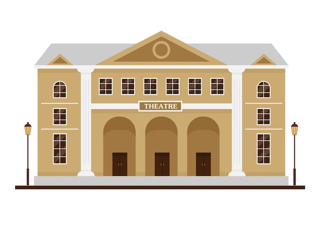 Facciata dell'edificio del teatro. casa con alte colonne in stile classico per il design della città