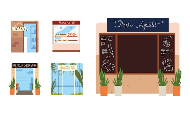 Insieme di facciate del ristorante della scuola materna del forno e più illustrazione
